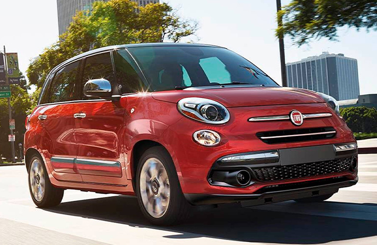 Red 2020 Fiat 500L front/side view
