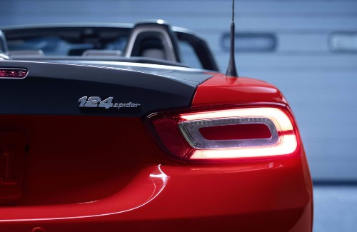 2020 Fiat 124 Spider red exterior rear close up of passenger side taillamp on