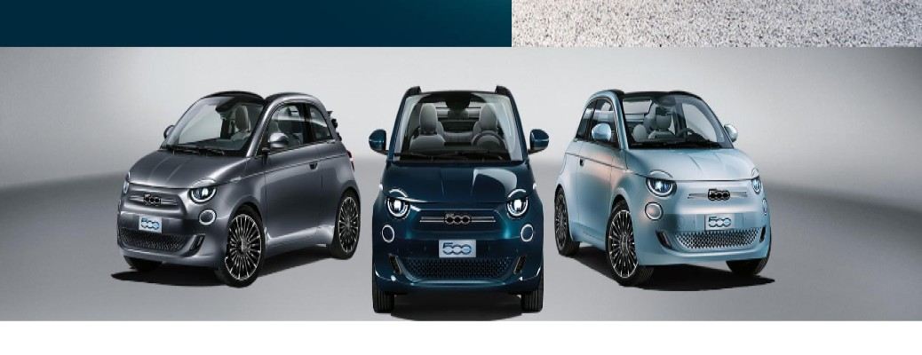 Fiat Electric 500 shot of La Prima models in Mineral Grey, Ocean Green, and Celestial Blue color options