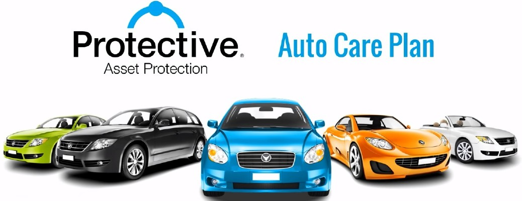 Protective Asset Protection Auto Care Plan banner featuring a lineup of nondescript vehicles