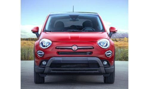2020 Fiat 500X Trekking Plus exterior front shot of grille and headlights with red paint color