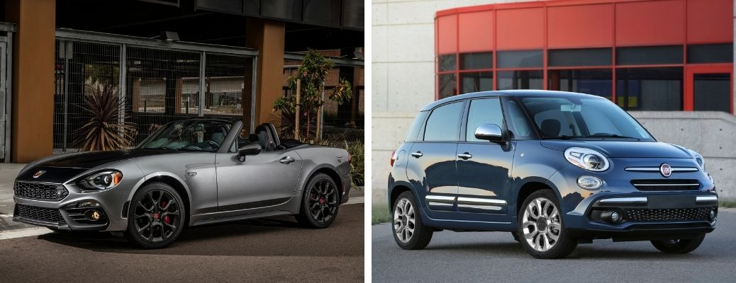 Fiat 124 Spider in gray and Fiat 500L in dark blue