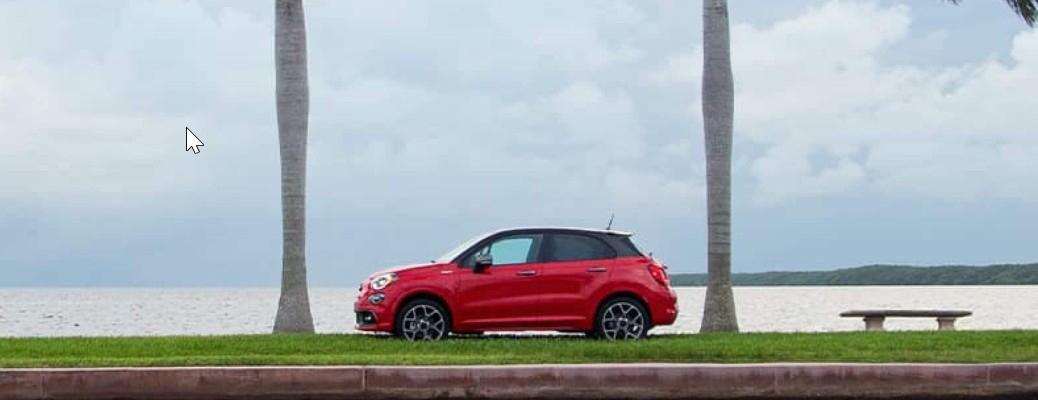 2021 Fiat 500X parked between two trees