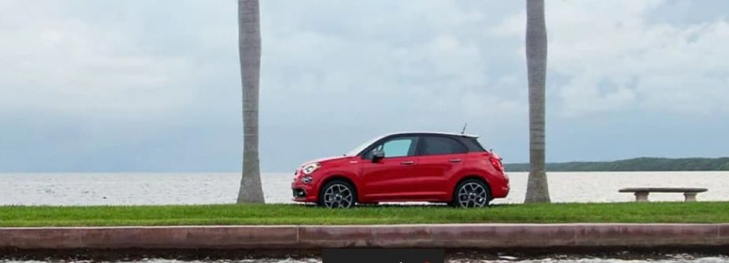 2021 Fiat 500x exterior driver side profile on beach