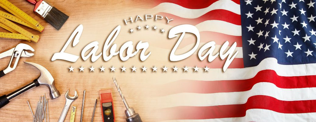 Happy Labor Day message with flag and tools