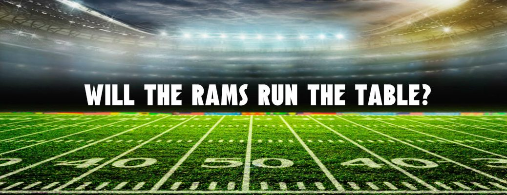 Football stadium lights on with text Will the Rams Run the Table?