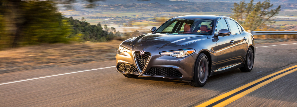 front and side view of gray 2019 alfa romeo giulia