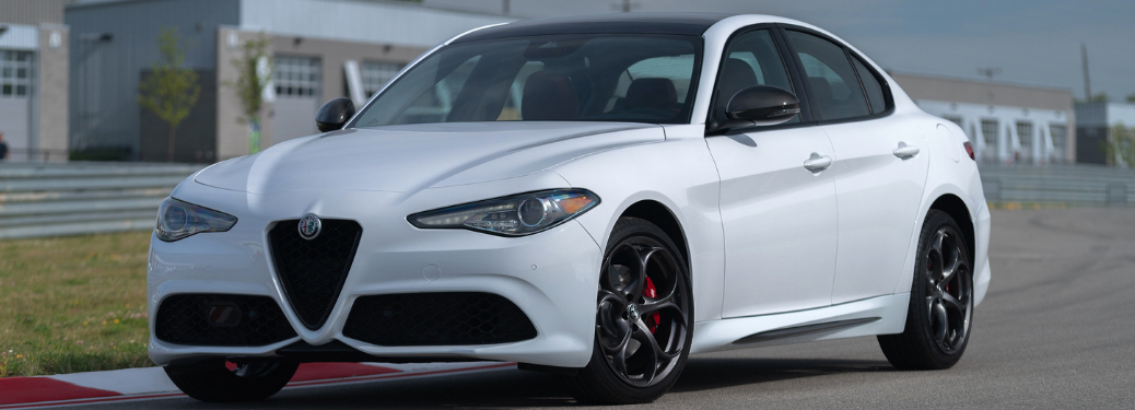 front and side view of white 2019 alfa romeo giulia