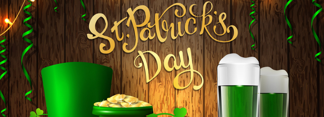 "st. patrick's day graphic with ""st. patrick's day"" text next to pot of gold and green beer glasses"