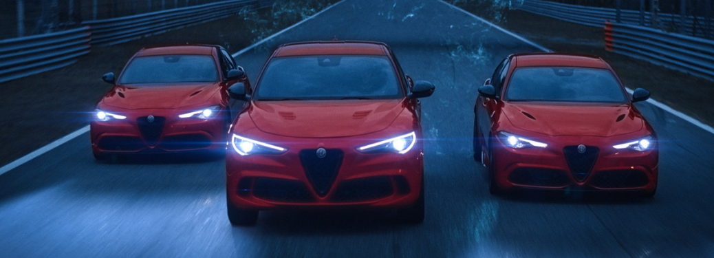 front view of three red 2019 alfa romeo giulia quadrifoglios