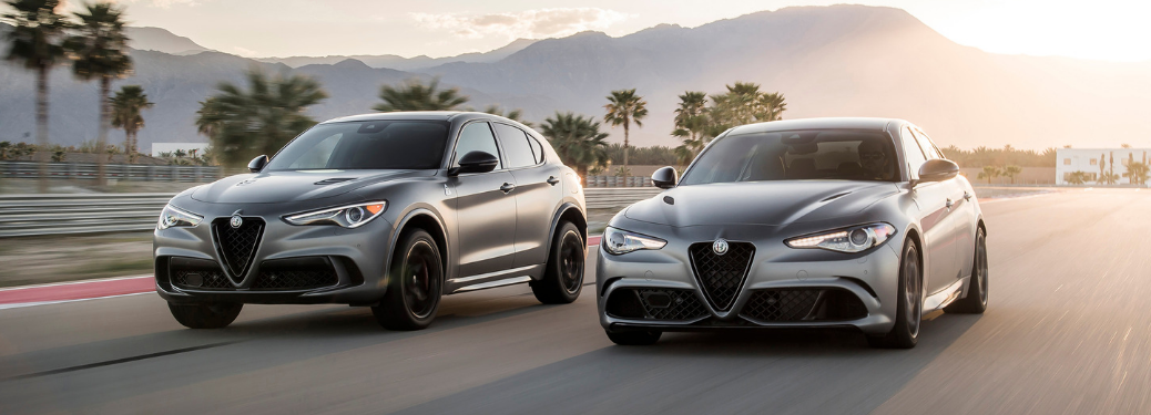 front and side view of gray 2019 alfa romeo giulia and stelvio quadrifoglio nring vehicles
