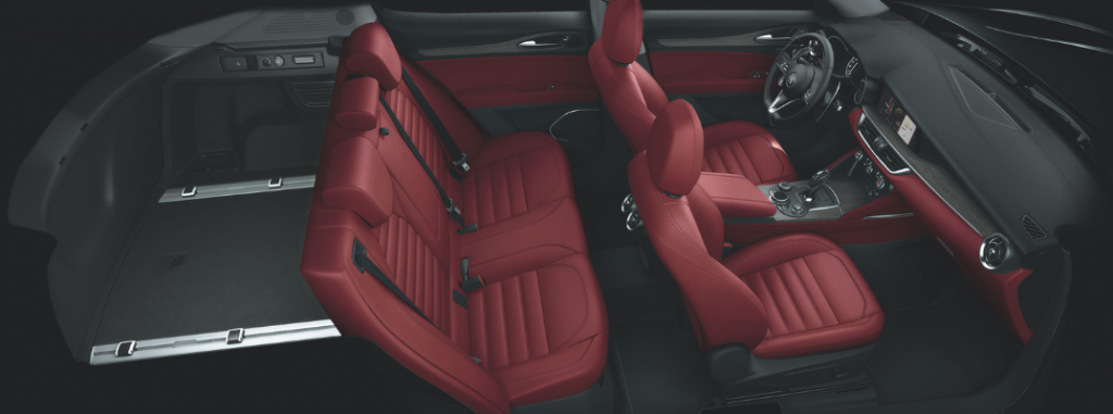 interior of 2019 alfa romeo stelvio including seats and cargo space