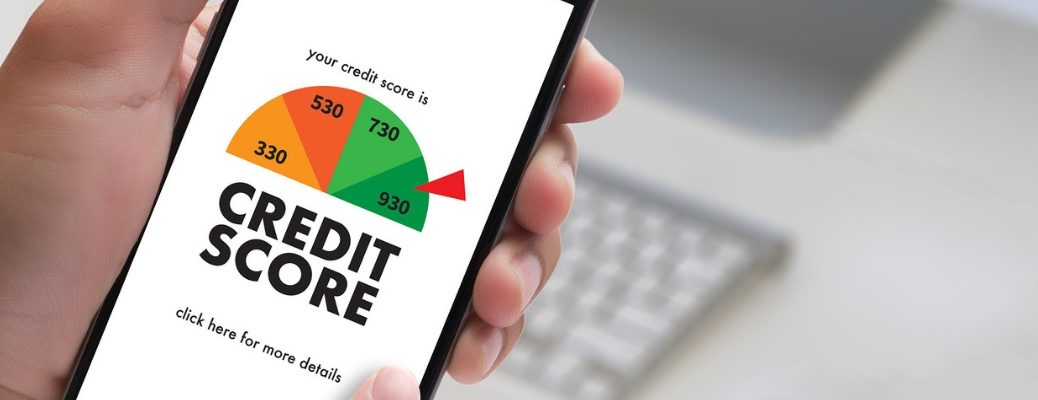 Smartphone with credit score on screen