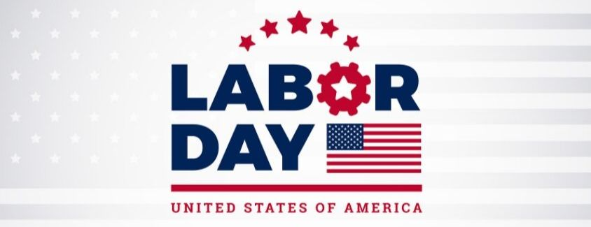 Banner celebrating Labor Day 2019 with the American Flag
