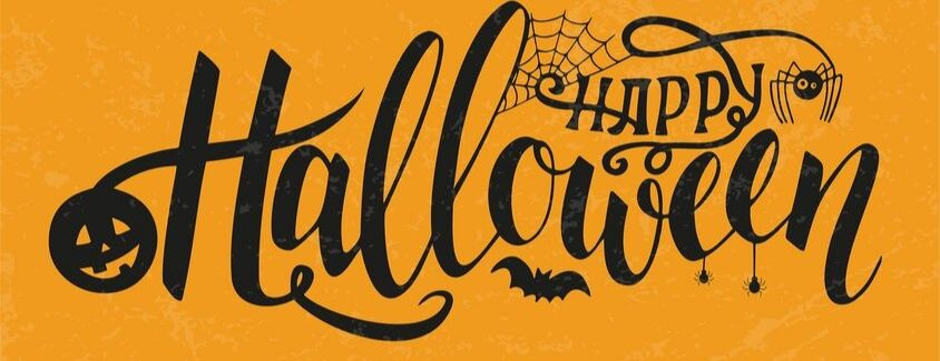 Happy Halloween banner with black script and an orange background