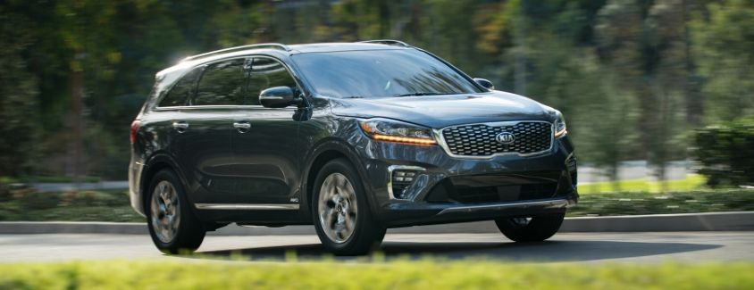 Exterior view of a gray 2020 Kia Sorento