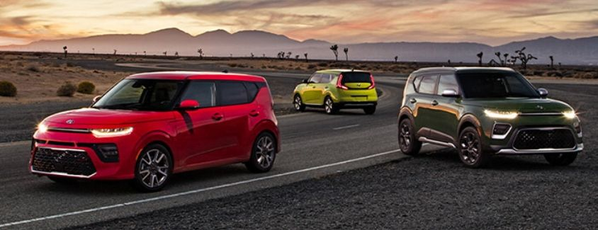 Exterior view of three 2020 Kia Soul models