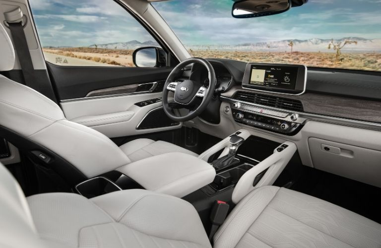 Interior view of the front seating area inside a 2020 Kia Telluride