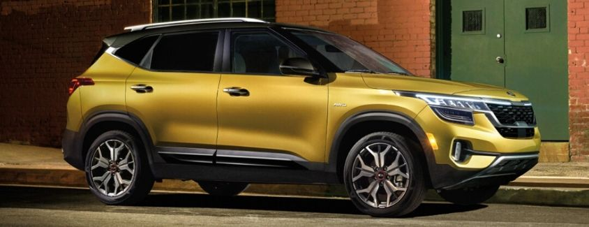 Exterior view of a yellow 2021 Kia Seltos