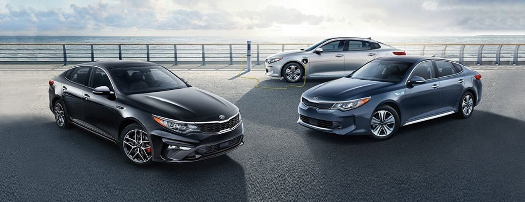 Exterior view of the three 2020 Kia Optima models