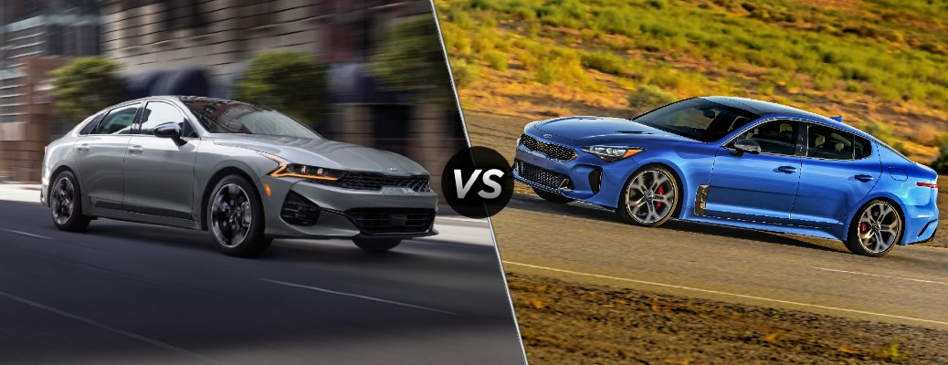 Comparison image of a gray 2021 Kia K5 and a blue 2020 Kia Stinger