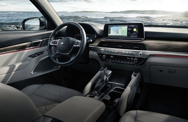 Interior view of the front seating area inside a 2021 Kia Telluride