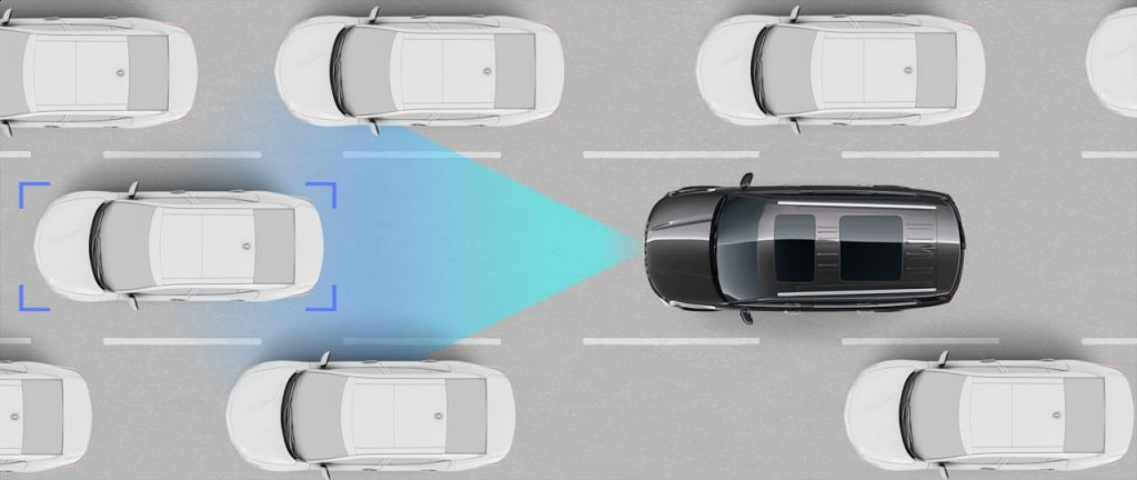 Visual representation of Smart Cruise Control with Stop & Go