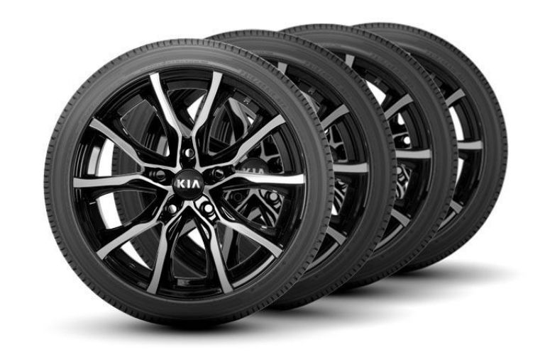 Image of a set of four Kia wheels and tires