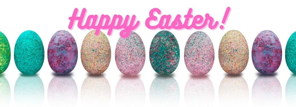 Line of Colored Easter Eggs on White Background with Pink Happy Easter Text