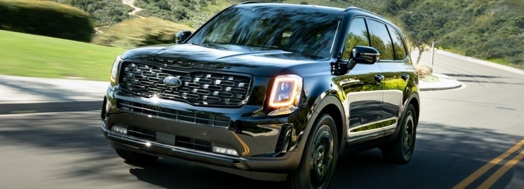 Black 2021 Kia Telluride on a Country Highway