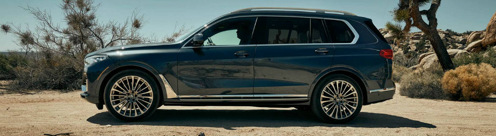 Profile view of blue 2019 BMW X7 parked on desert landscape