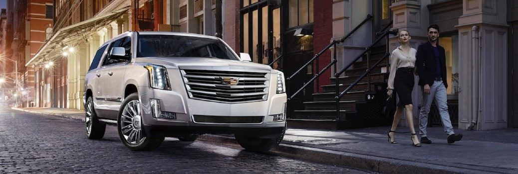 white 2019 Cadillac Escalade driving on street