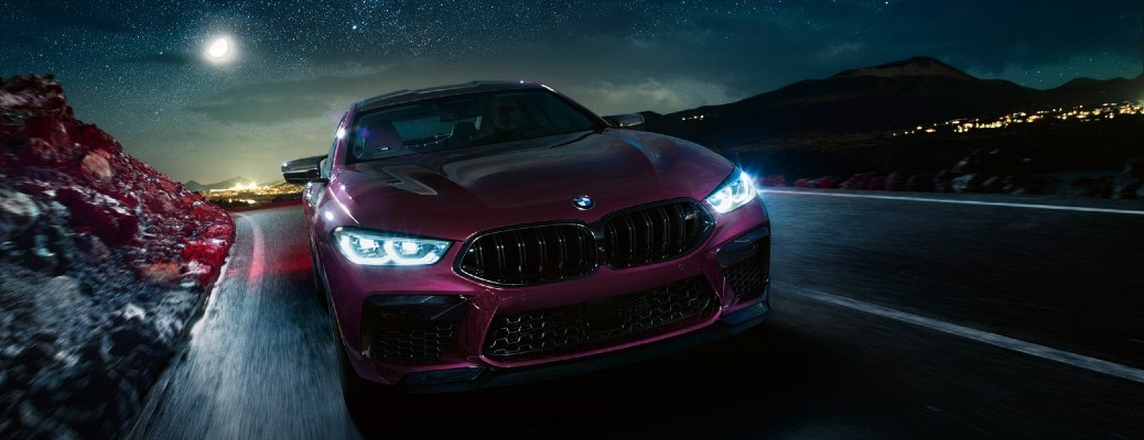 2021 BMW M8 Gran Coupe driving at night