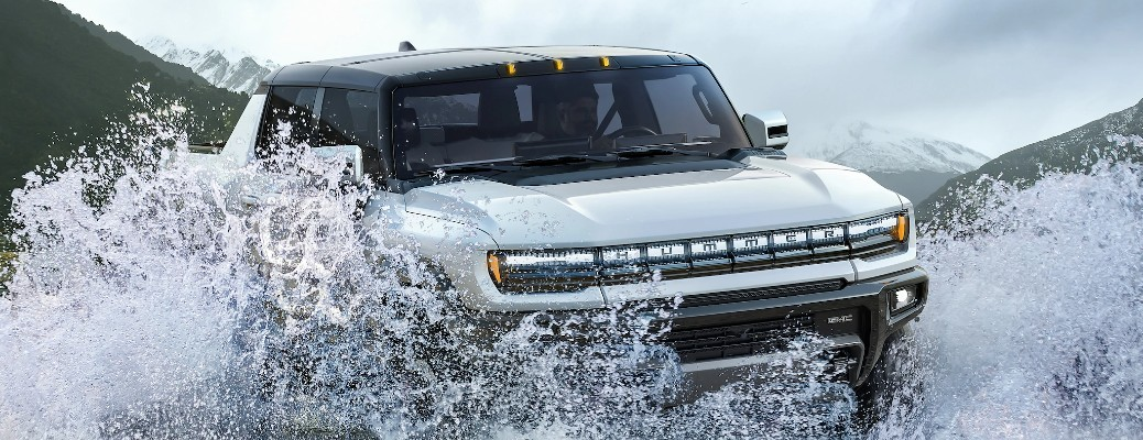 Hummer EV driving through water
