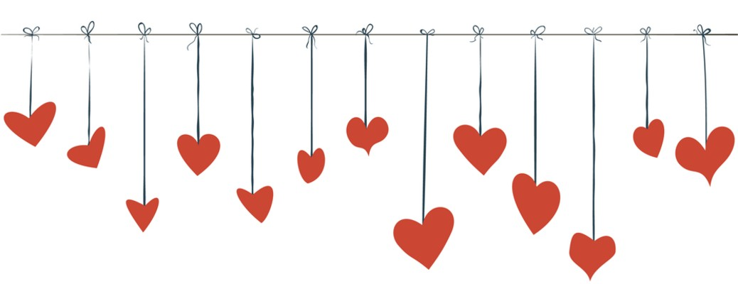 hearts hanging from a string