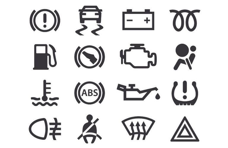 Some commom warning icons on the dashboard