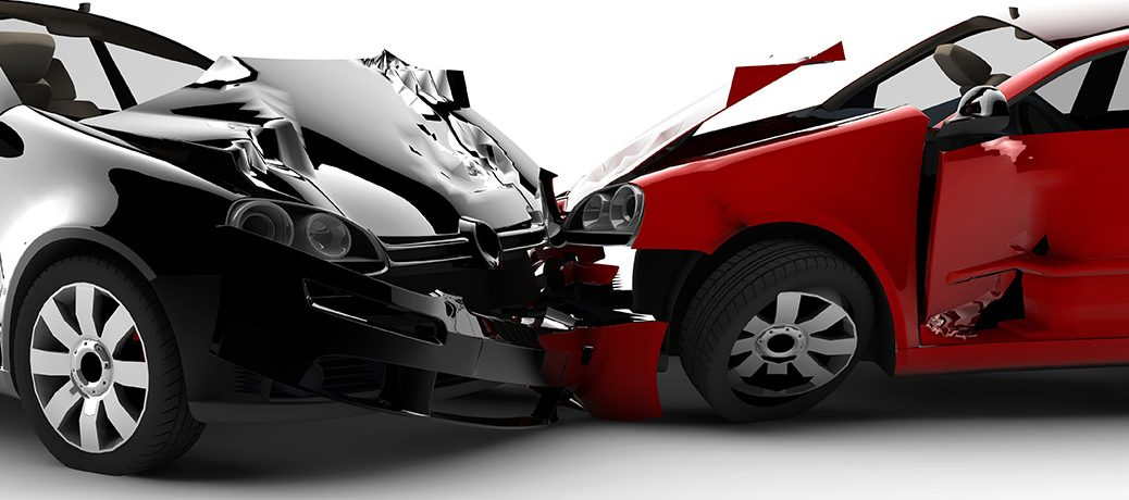 Collision between Red and White car