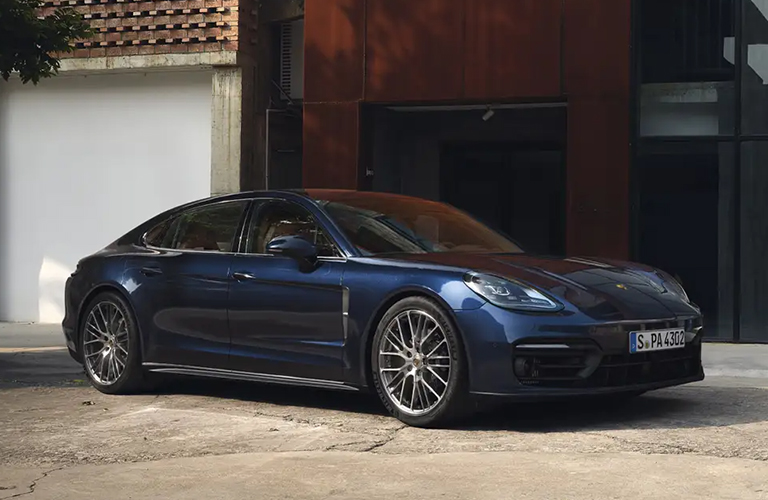 Blue Porsche from Right Front