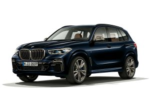 side view of a blue 2020 BMW X5