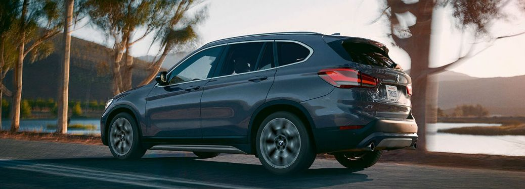 side view of a gray 2020 BMW X1
