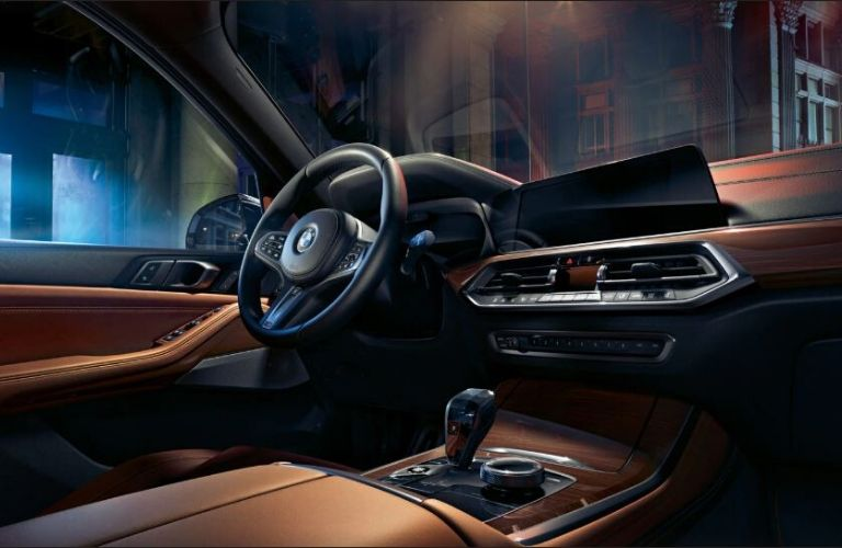 2020 BMW X5 interior dash and wheel view