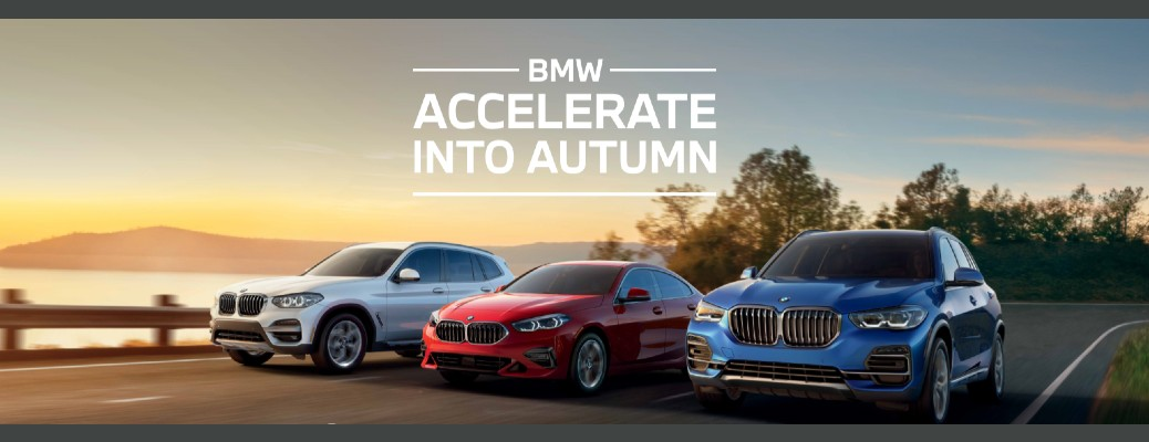 accelerate into autumn banner BMW white red and blue