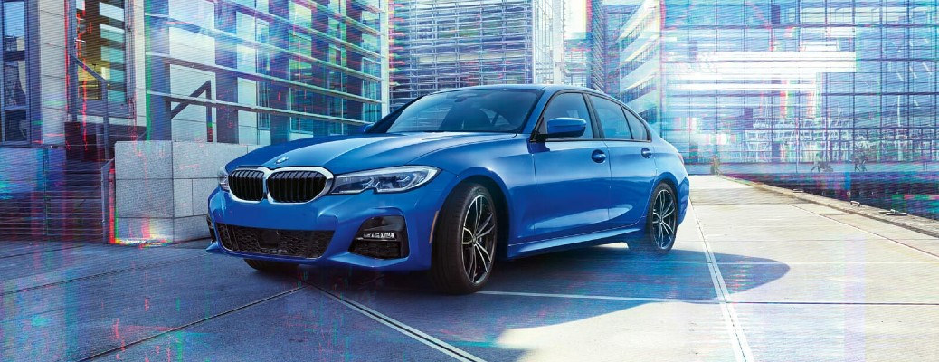 2019 BMW 3 Series blue on concrete in city