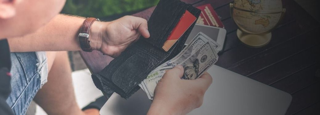 wallet with cards and cash