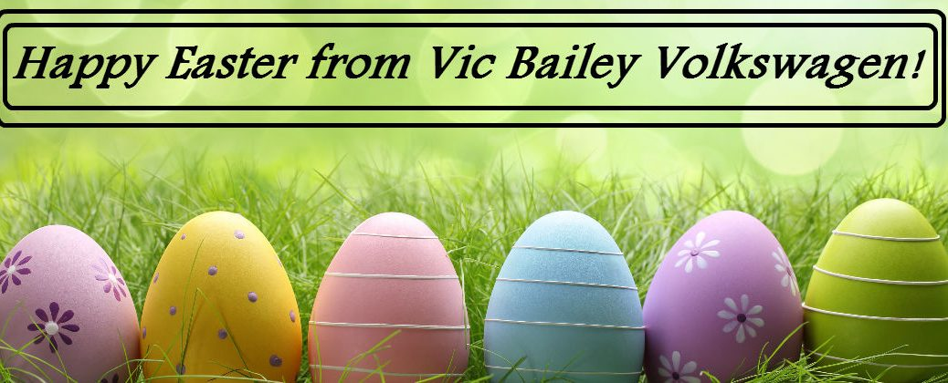 2016 Easter Egg Hunts and Brunch Spartanburg SC at Vic Bailey Volkswagen-Happy Easter Banner with Easter Eggs in Grass