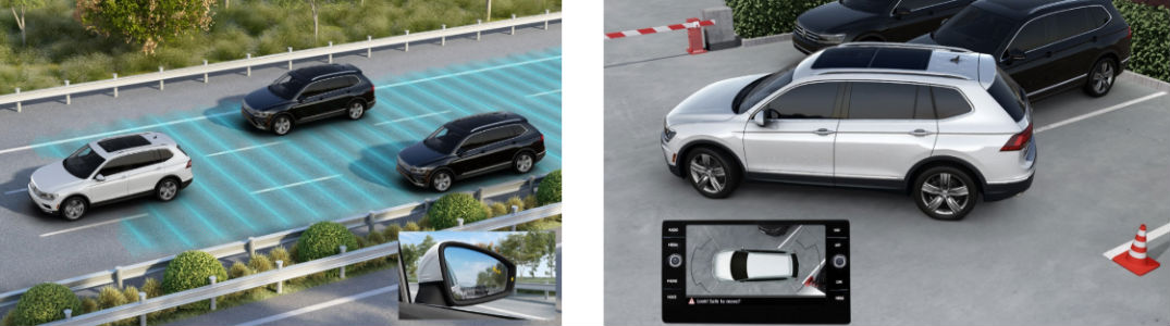 Diagram of 2019 Volkswagen Tiguan using blind spot monitor and rear view camera system