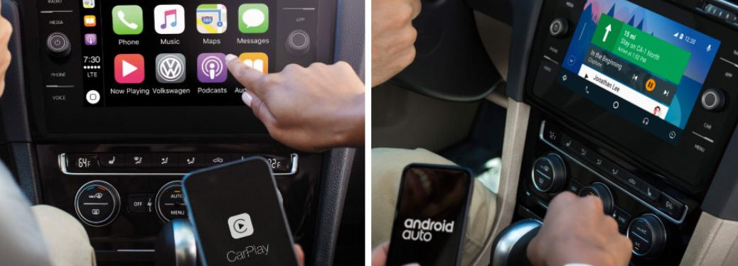 Volkswagen Android Auto™ and Apple CarPlay™ features being used