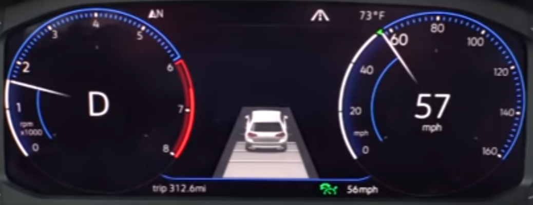 Dashboard gauges in Volkswagen vehicle with Adaptive Cruise Control engaged