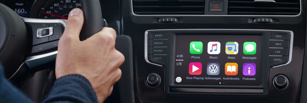 Apple CarPlay on a touchscreen in a Volkswagen