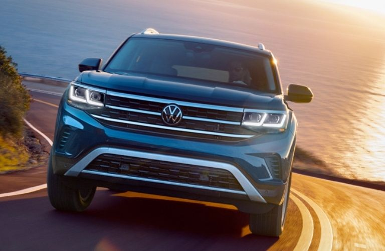 2021 Vw Atlas front view on the road